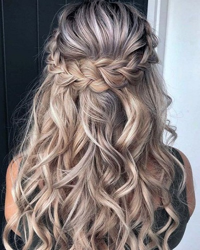 The Half-Up  Braided Crown Hairstyle