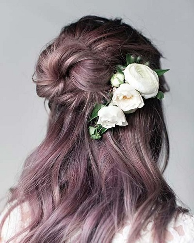 Half Up Bun With Flower Pin