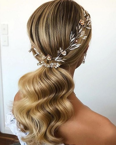 Glamorous Low Ponytail Wedding Hairstyles for Long Hair