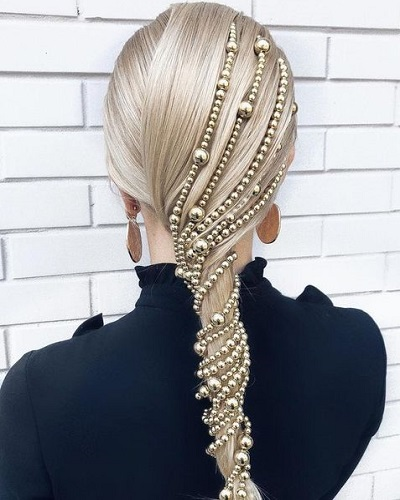 Glam Ponytail with Beaded Detail