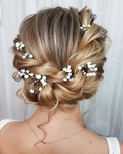 Twisted Updo With Flowers
