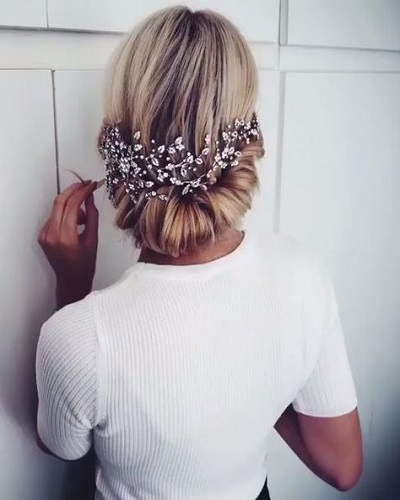 Tucked in Updo with Jewel Crown