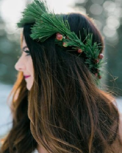 Winter Wreath Wedding Hairstyles for Long Hair