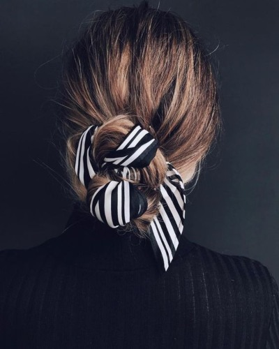Low Bun with Scarf Detail