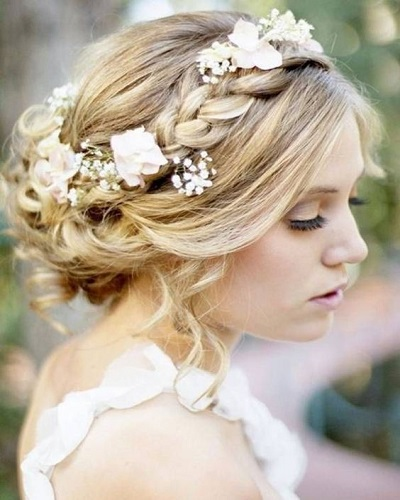 Romantic Crown Braided Wedding Hairstyles for Long Hair