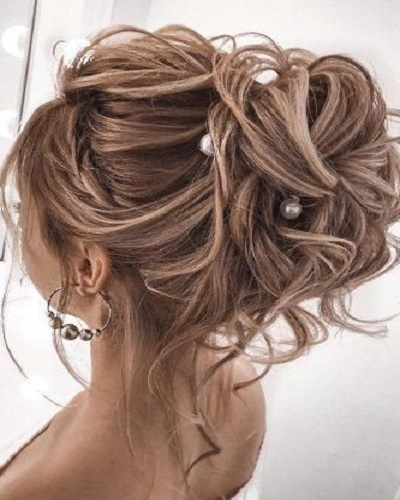 Messy Updo With Pearl Detail