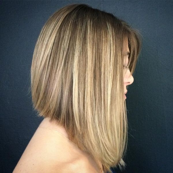 Angled Blonde Balayage with Thin Cut Fringe Lob