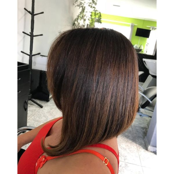 Angled Long Bob with Short Straight Fringe
