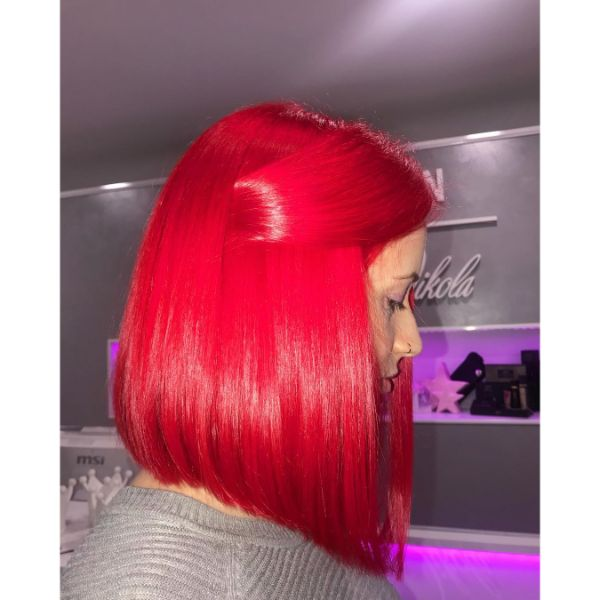 Ariel-red Long Bob for Straight Hair
