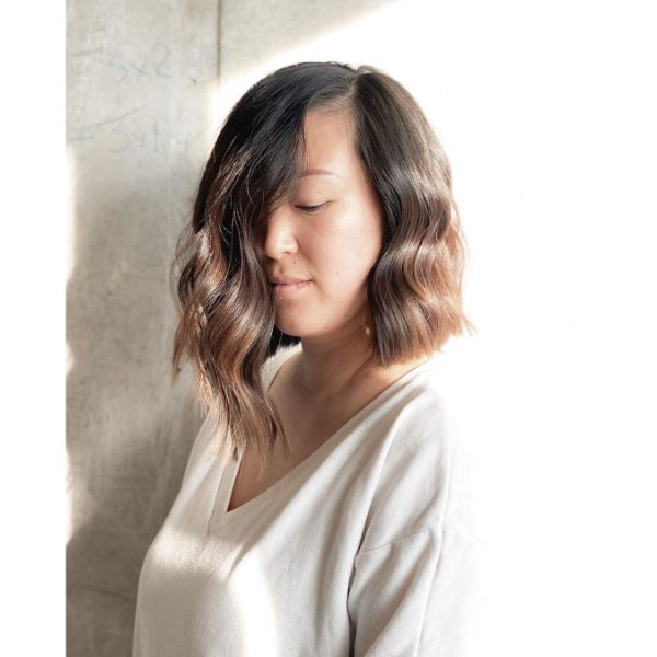 Asymmetrical Angled Wavy Long Bob with subtle Ombre