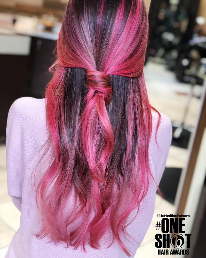Back Knotted Dark Pink Balayage for Long Straight Hair
