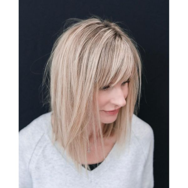 Bleach Blonde Long Bob with Straight-Cut Bangs
