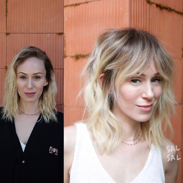 Blonde Wavy Long Bob with Face Framing Bangs
