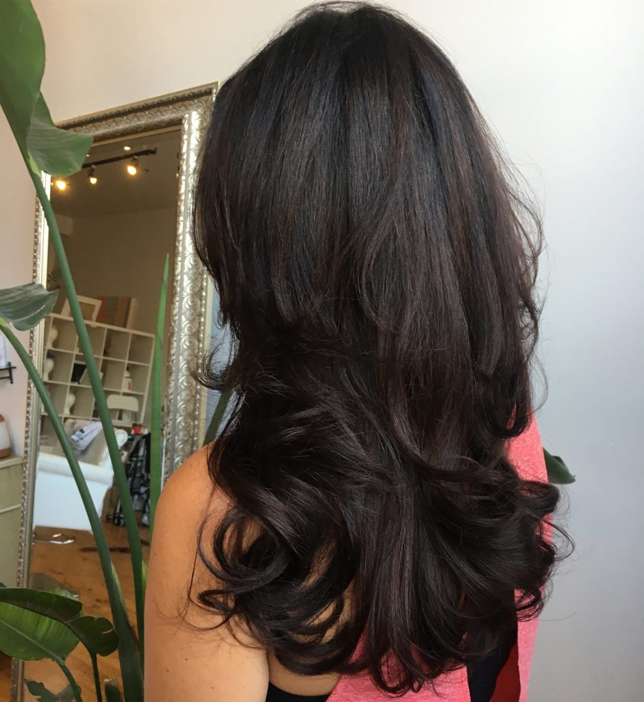 Bouncy Layers for Straight Dark Hair