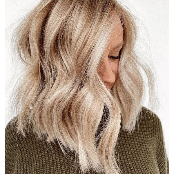 Bouncy Textured Waves for Blonde Long Bob Haircut
