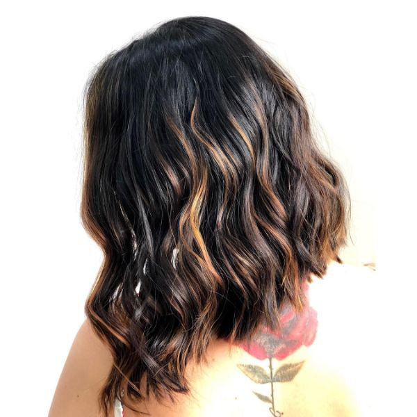 Brown Balayage for Wavy Long Bob Haircut