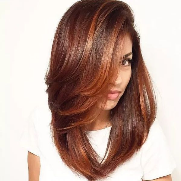 Brown with Chocolate Highlights for Lob with Extra Long Bangs and Side Part