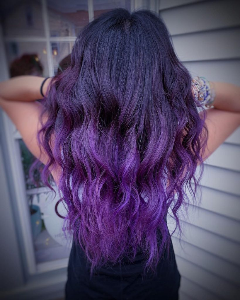 Brunette-Purple Balayage for V-Cut Long Wavy Hair