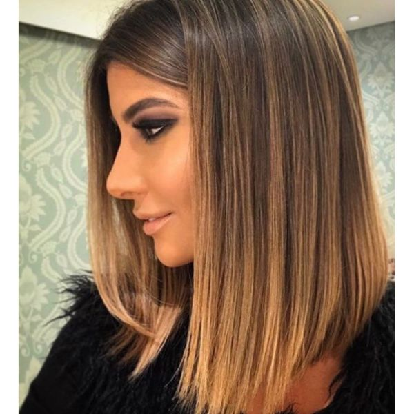 Caramel Balayage Long Straight Lob Hairstyle