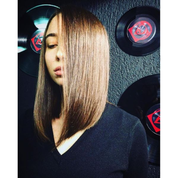 Caramel Brown Colored Long Bob for Straight Hair