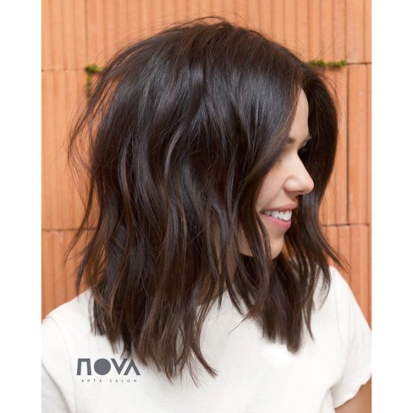 Chestnut Colored Chunky Long Bob with Long Bangs