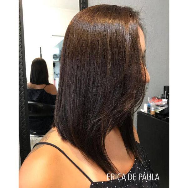 Chestnut Colored Lob with Back Swiped Bangs for Straight Hair