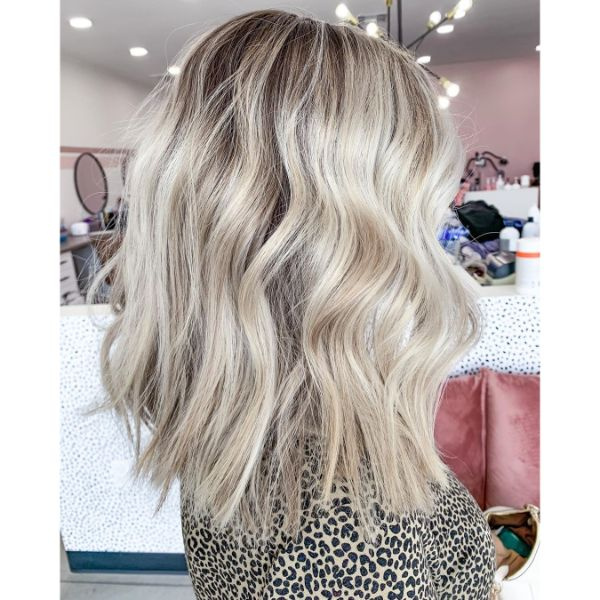 Chunky Lob for Bleach Blonde Wavy Hair
