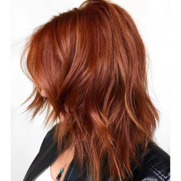 Cinnamon Red Messy Long Bob Haircut with Short Bangs