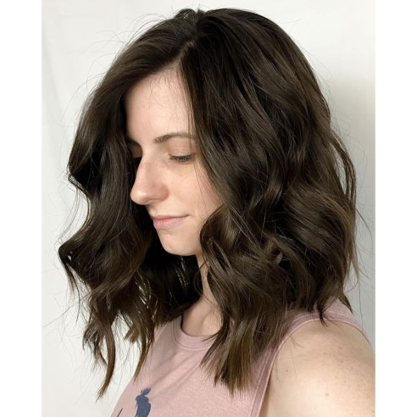 Classic Wavy Long Bob for Black Brown Hair