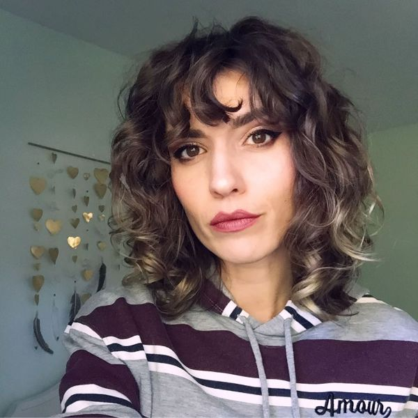 Curled Up Long Bob Blonde Balayge with Curly Bangs for Brown Hair