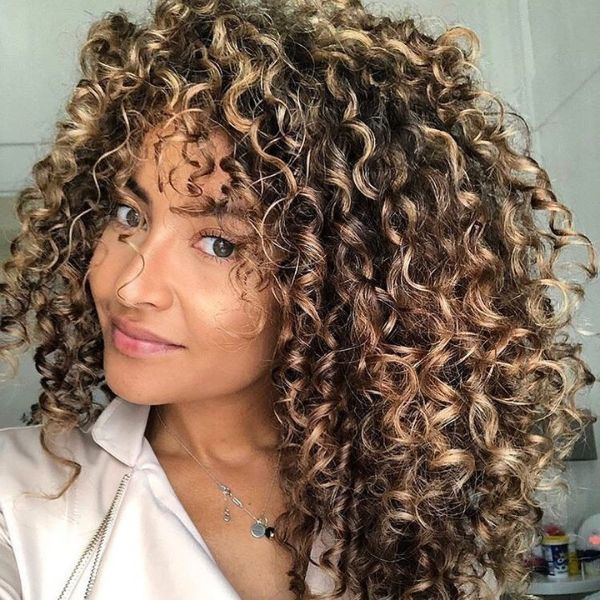 Curly Short Layers for Long Balayage Hair