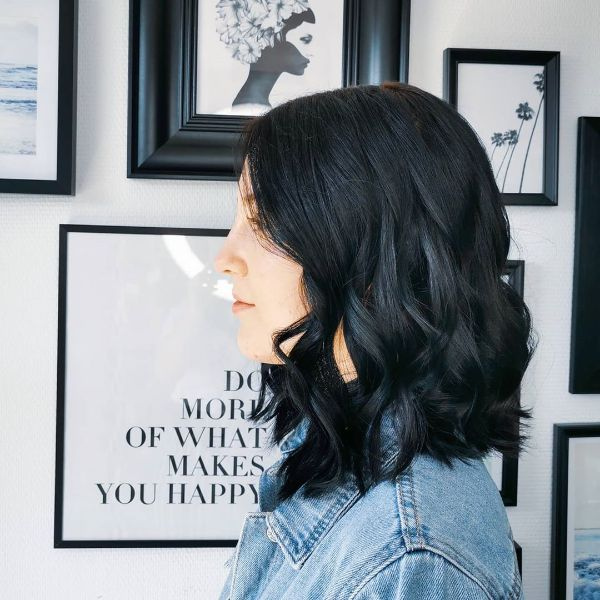 Dark Blue Wavy Long Bob with Short Bangs