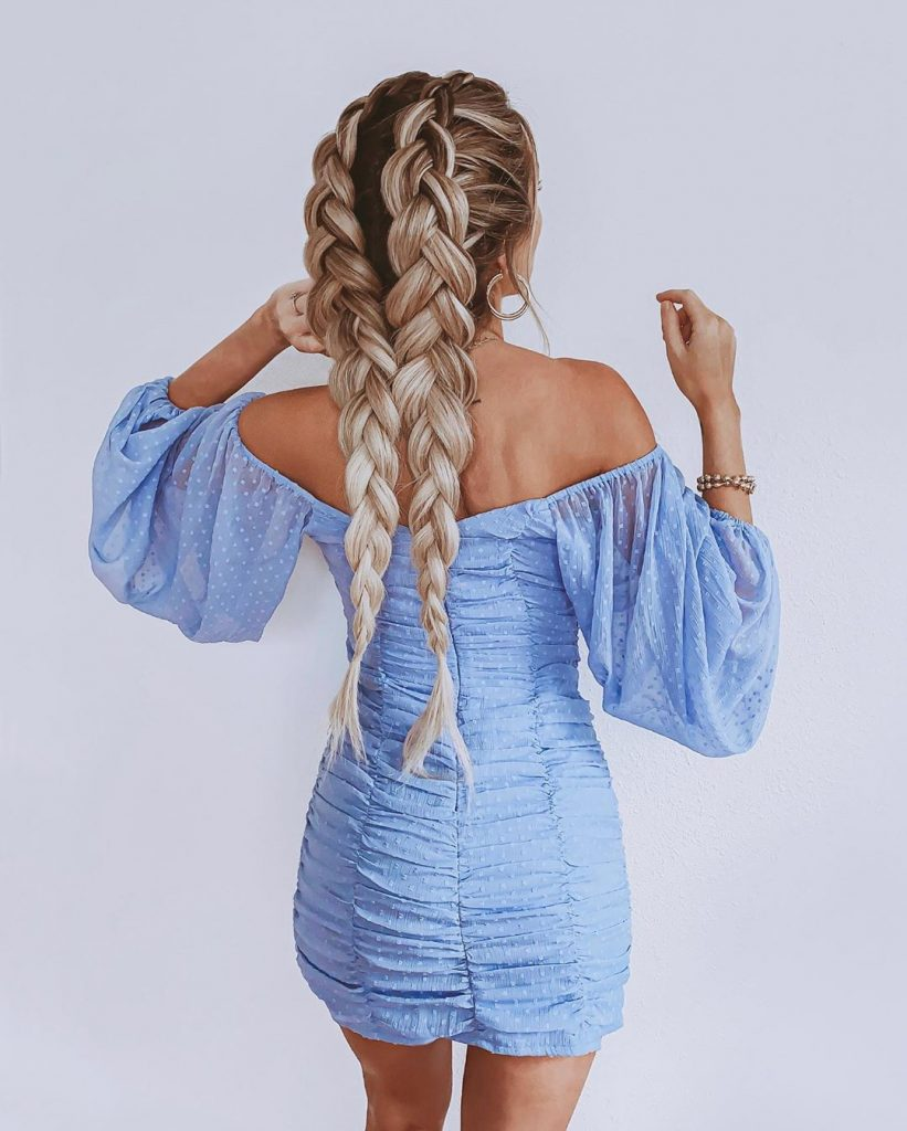 Double Braided Pigtails for Long Hair