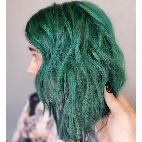 Emerald Green Wavy Long Bob Haircut with Bangs