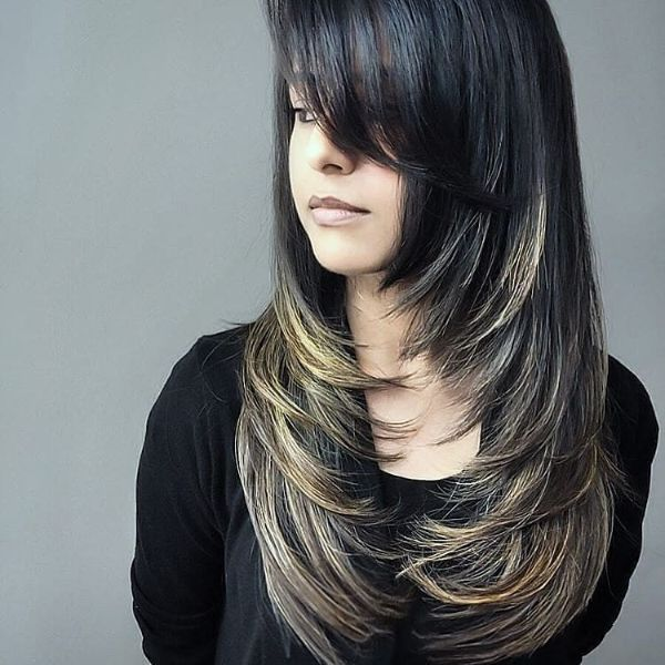 Feather Layers with Highlights for Straight Hair