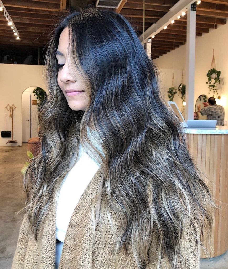Glossy Brunette Balayage for Wavy Long Hair