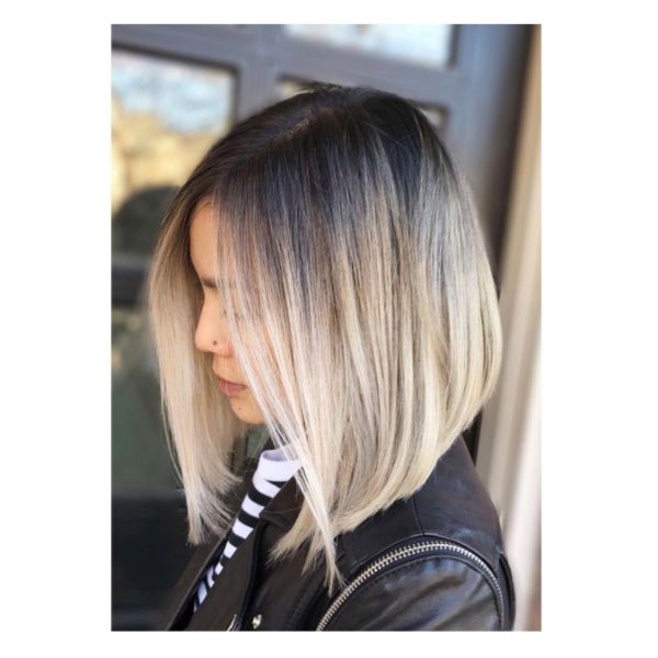 Gray Blonde Balayage A Cut Long Bob for Straight Hair