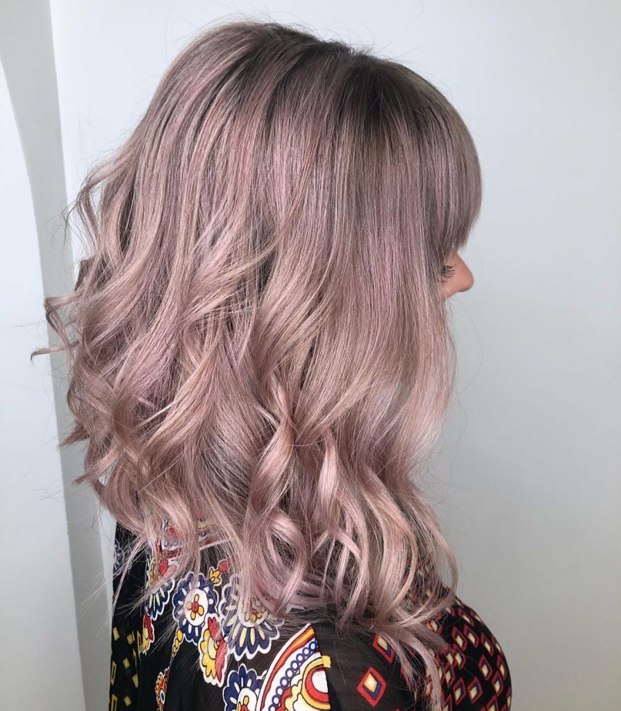 Grey Balayage with rose highlights for Curly Long Hair
