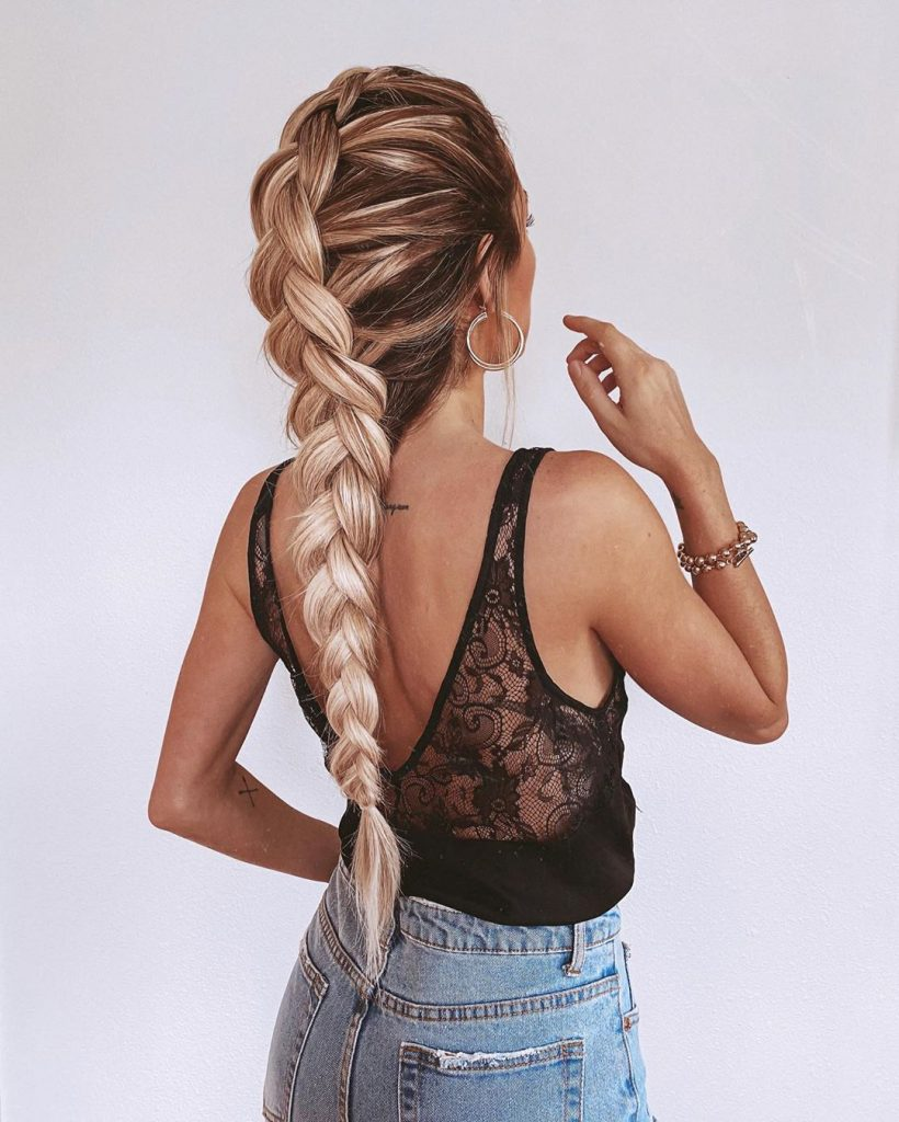 High Braided Ponytail for Long Hair