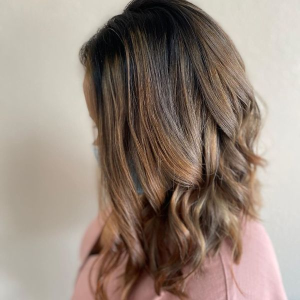 Honey Blonde Balayage Long Bob for Wavy Hair