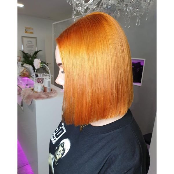 Light Copper Long Bob Haircut