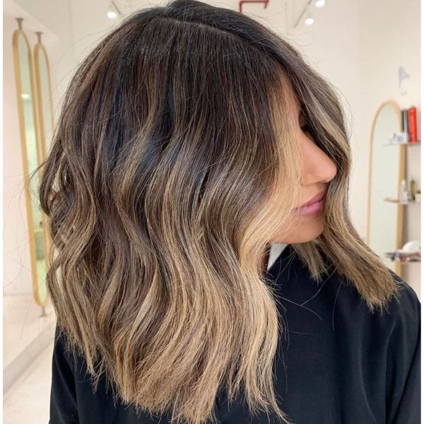 Long Bob Balayage with Lighter Frontal Piece Hairstyle