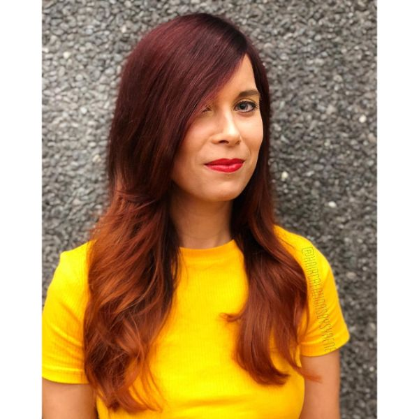Long Layered Red Hair with Deep Side Part