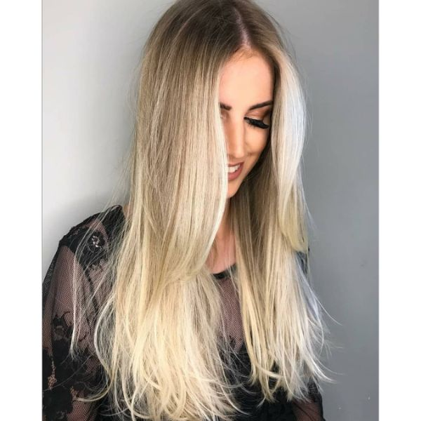 Long Messy Layered Hairstyle for Straight Blonde Hair