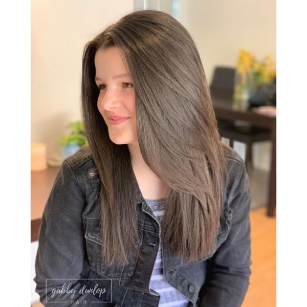 Long Silky Layers for Straight Brown Hair