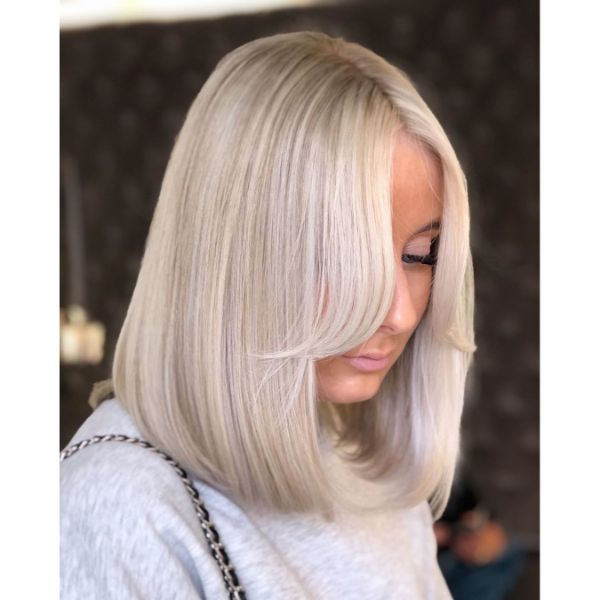 Long Soft Bob for Straight Blonde Hair with long bangs