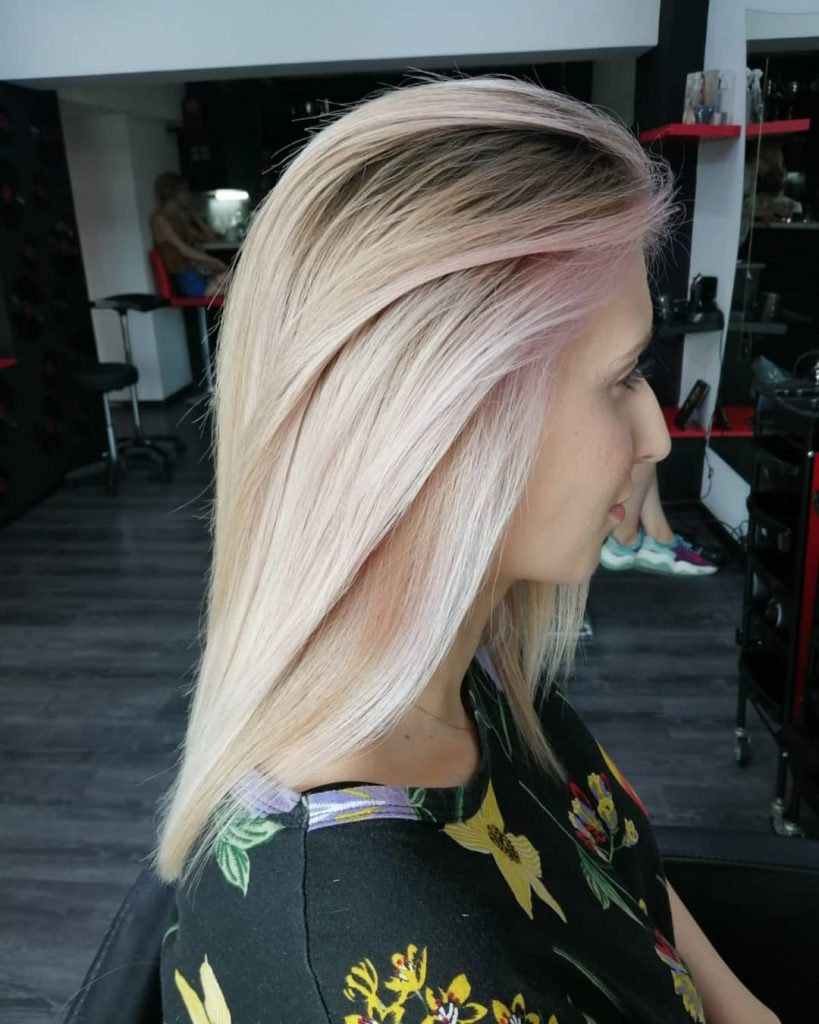 Long Straight Blonde hair with strawberry highlights