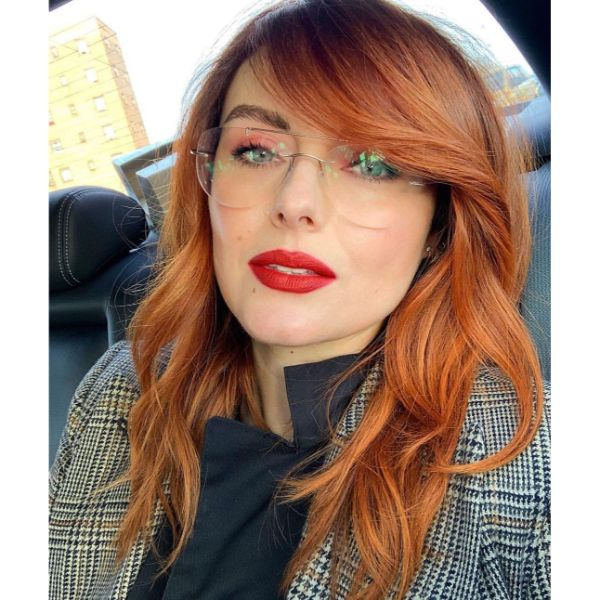 Long Thin Layers for Copper Red Hair with Side Bangs