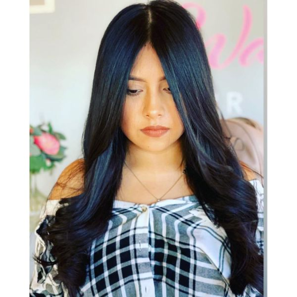 Long Wavy Layers for Dark Blue Long Hair