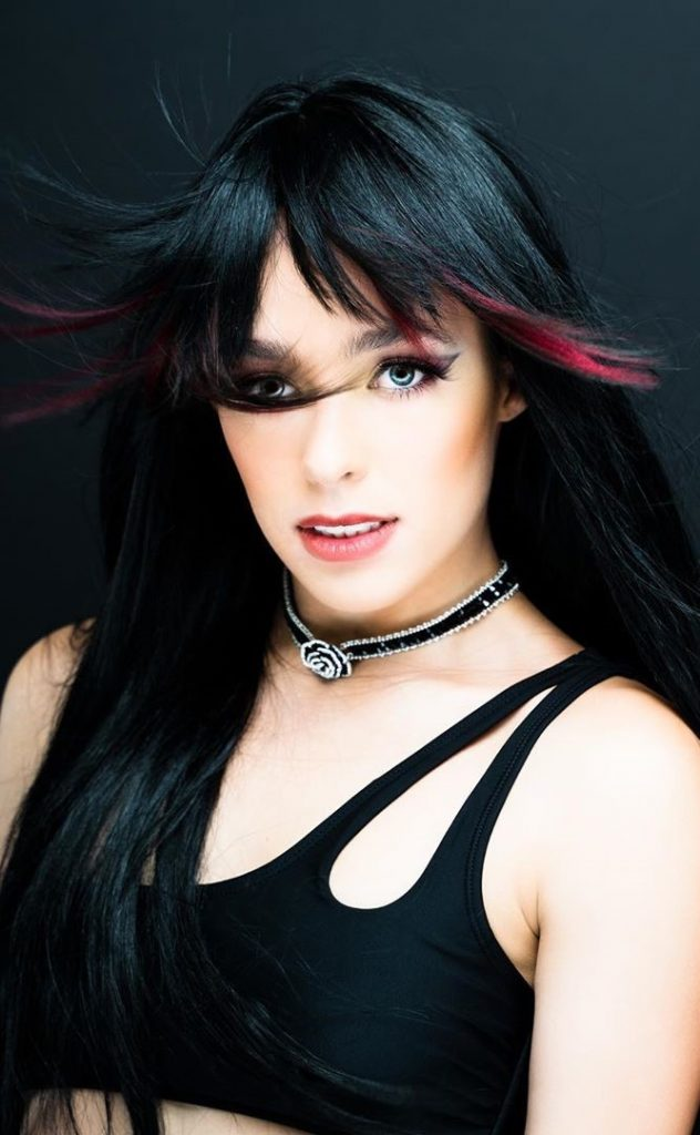 Long black hair with coloured bangs